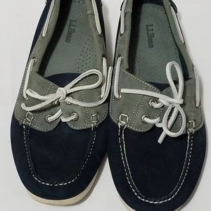 L.L. Bean Navy blue and grey Boat shoes